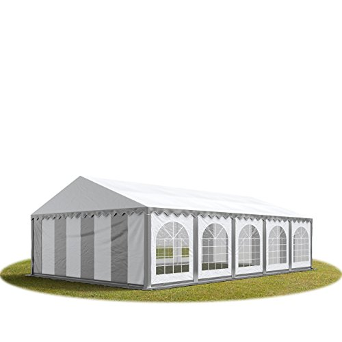 TOOLPORT Festzelt Partyzelt 5x10 m Premium, hochwertige ca. 500g/m² PVC Plane in grau-weiß 100% wasserdicht mit Bodenrahmen