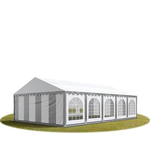 TOOLPORT Tente Barnum de Réception 5x10 m Bâches PVC env. 500g/m² Gris-Blanc Cadre de Sol Jardin