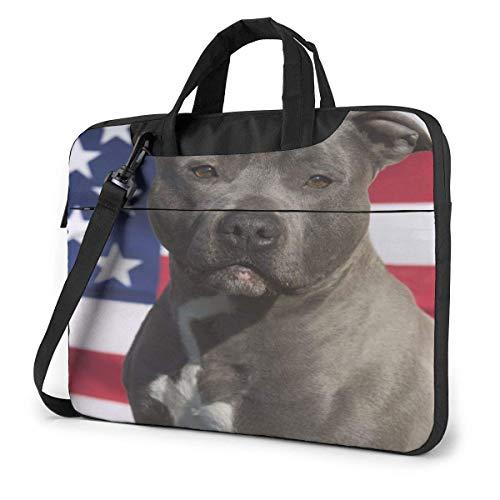 15.6 Inch Funda Bandolera Maletín para Portátil Maletín de Hombro para Negocio Viaje Perro Staffordshire Terrier de Bandera Americana