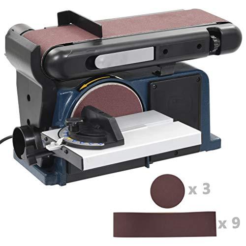 vidaXL Bandschleifer Tellerschleifer Schleifmaschine Bandschleifmaschine Schleifband Schleifteller 370 W 150 mm 2980 U/min 0°-45° Verstellbar Elektrisch