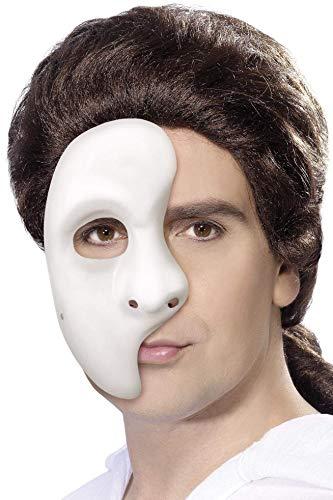 Smiffy's-1593 Fantasma, Blanca, 1/2 máscara, Color, Tamaño
