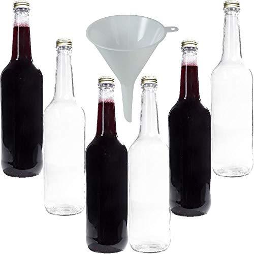 Viva Haushaltswaren - 6 x Glasflasche 750 ml mit goldfarbenem Schraubverschluss, Flasche zum Befüllen als Weinflasche, Likörflasche, Schnapsflasche etc. verwendbar (inkl. Trichter Ø 9 cm)