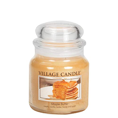 Village Candle Maple Butter Medium Glass Apothecary Jar Scented Candle, 13.75 oz, Yellow