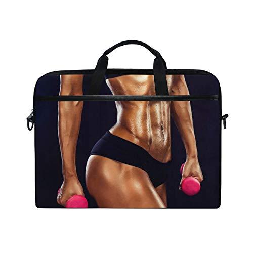 LOSNINA Laptop Tasche 15-15.4 Zoll,Fitness gesunde Figur mit Bauchmuskeln Vest Line,Neue Leinwand Drucken Muster Aktentasche Laptop Schulter Messenger Handtasche Case Sleeve