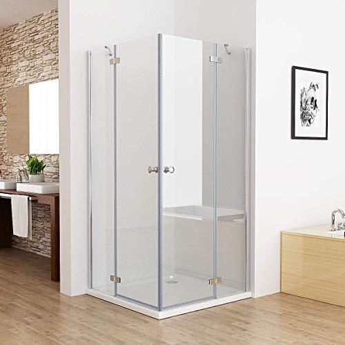 MIQU 90 x 75 cm Duschkabine Eckeinstieg Duschwand Dusche Duschabtrennung ESG Glas
