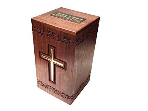 NWA Wooden Funeral Cremation Urn with Solid Brass Cross