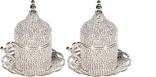 Juego de 2 tazas de café turco para platillos decorados (plata)