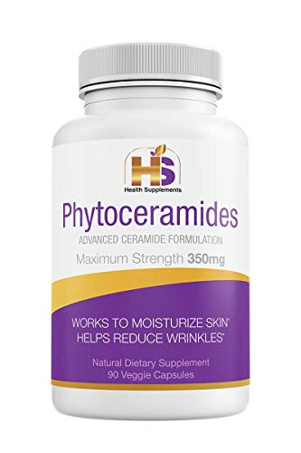 Health Supplements Rice Phytoceramides 350mg 90 Capsules. High Quality Vegan Ceramides, Helps Reduce Wrinkles and Hydrates Your Skin from Within. GMO/Gluten Free - USA Made