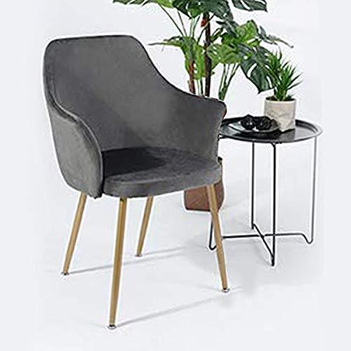 H.J WeDoo Samt Esszimmerstuhl mit Gepolstertem Rücken und Sitz, Retro Stuhl mit Armlehne und Metall Gold Beine - Grau