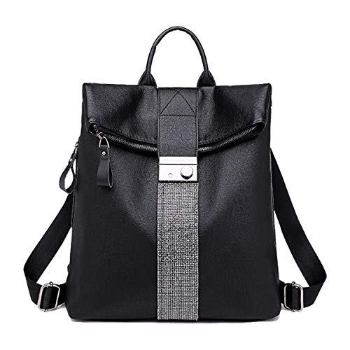 Tisdaini® Damen Rucksackhandtaschen modische reise freizeit Hohe Kapazität schulrucksack Schwarz