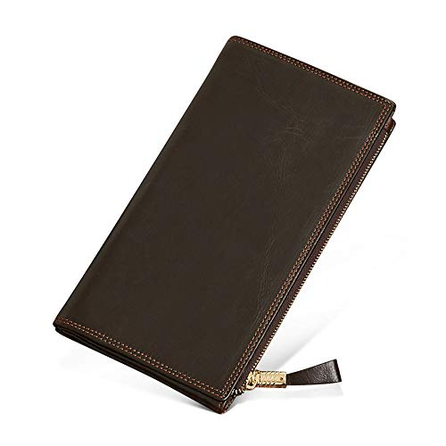 La cartera de los hombres, Para hombre Bloqueo RFID Suave Cartera de cuero genuino bifold largo con cremallera Coin ID de bolsillo Ventana Calidad Cartera de cuero suave Chaqueta de viaje Abrigo regal
