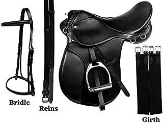AceRugs All Purpose Black Leather English Riding Horse Saddle Starter Kit