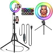 REDSTORM Ringlicht mit Stativ Handy, Selfie Ringleuchte, LED Ringlicht mit 2 Stativständern und Handyhalterung, 10 Farben RGB sowie Helligkeitsstufen, Teleskopische Halterung und Kamera-Fernauslöser