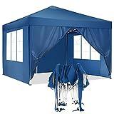 HOTEEL Carpa Plegable 3x3m Carpas y Cenadores Impermeable Cenador de Jardín Protección UV con 4 Paneles Laterales para Eventos al Aire Libre, 3x3m , Azul