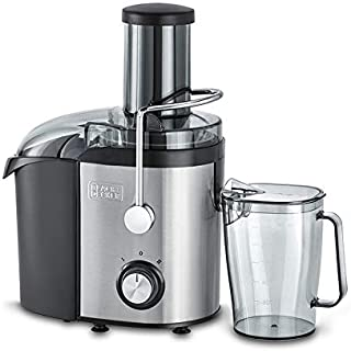 Black+Decker 800W 1.7L Stainles Steel XL Juicer Extractor with Juice Collector , Silver/Black - JE800-B5, 2 Years Warranty