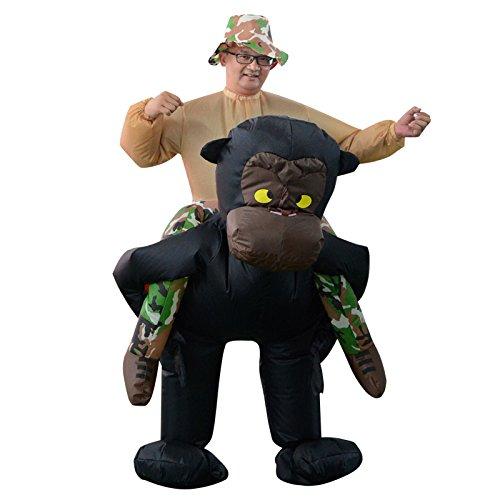 PETSOLA Aufblasbares Unisex Kostüm Großwildjäger auf dem Rücken eines Gorillas