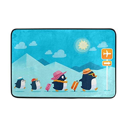 Use7 - Felpudo para Interiores y Exteriores, 60 x 40 cm, diseño de pingüino, Color Azul