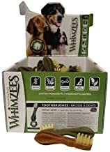 Whimzees 24 Count Brushzees, Medium, Vegetarian Dental Treats for Dogs