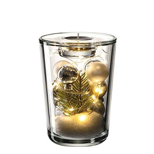 LEONARDO - GK - Vivo - Teelichthalter/Vase - Glas - Klar/Silber - (HxBxT) 22,3 x 13 x 12 cm - Set: Vase+TL+LED+Kugeln Silber