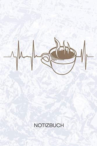 NOTIZBUCH: A5 Kariert - 120 Seiten KARO - Geschenkidee für Kaffeeliebhaber Heft Kaffee Notizheft - Kaffekränzchen Notizblock Kaffee Herzklopfen Motiv - Kaffeeliebhaber Geschenk Kaffeeliebe