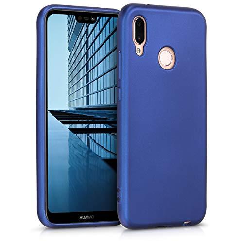kwmobile Carcasa Compatible con Huawei P20 Lite - Funda de Silicona para móvil - Cover Trasero en Azul Metalizado