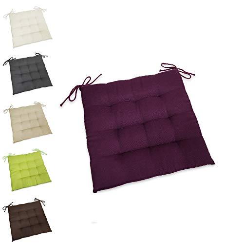 wometo Sitzkissen Stuhlkissen Sitzpolster Stella 40x40 cm - Beere lila dunkelrot hellgrün Sitzauflage Auflage für Haus und Garten Polster Kordelbänder für sicheren Halt gemütlich