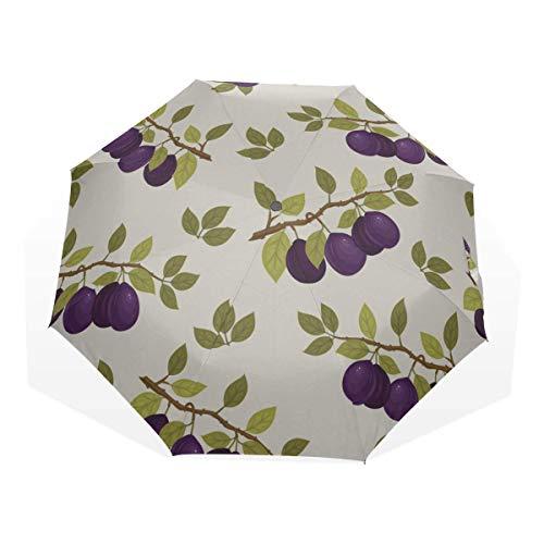 Womans Travel Umbrella Blue Plum Snack Food Dry Fruit 3 Fold...