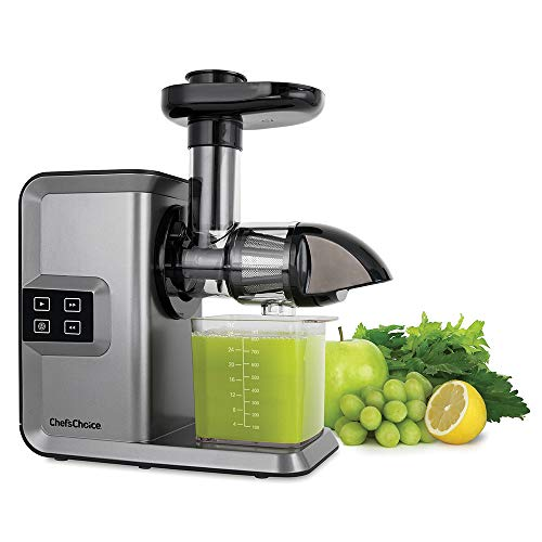 Chef'sChoice Juicer Cold Press Extractor Machine Masticating Quiet Motor Digital Controls Anti-Clog Reverse Function Nutrient Preserving For Juicing Fruits Veggies and All Greens, 150-watt Silver