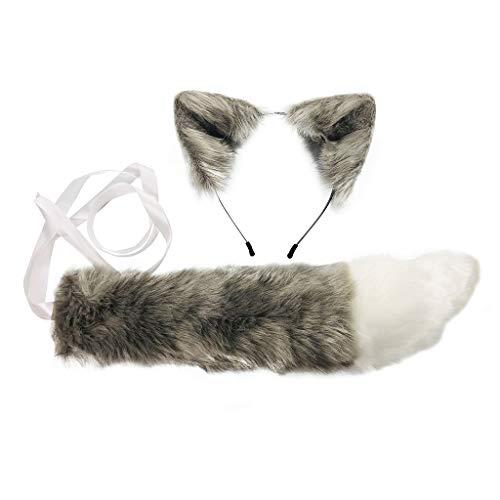 GREEN&RARE Diadema con orejas de lobo de piel sinttica, juego de cola larga, color caramelo, anime, disfraz de anime, disfraz de Halloween, para manualidades, joyera de pelo