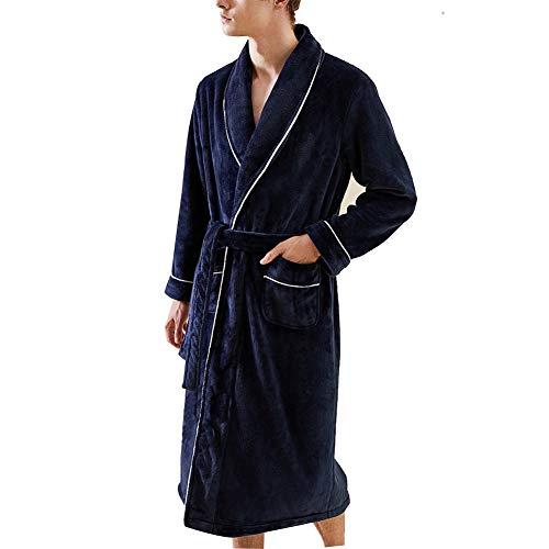 ZZUU heren Badjas, flanel super zachte gewaad gewaden, 2 zakken, riem - zacht, absorberend en comfortabel bad gewaden, voor thuis hotel douche sauna