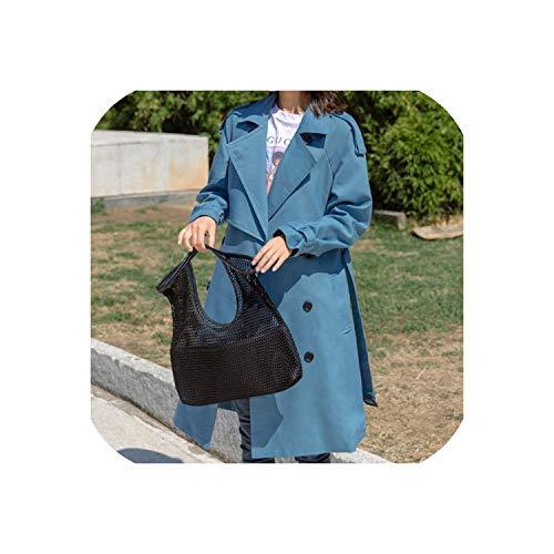 Ruimte verrassing Draai omlaag kraag vrouwen Trench Verstelbare Taille Blauw Lange Mouw Trench Jas Dames Bovenkleding