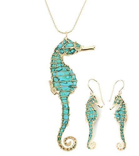 Joyas marineras turquesa - Conjunto el oro con collar y aretes de caballito de mar para mujer - Regalos millefiori hechos a mano - Ideas para regalar con animales marinos