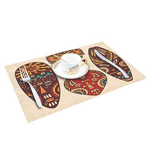 Juego de 4/6 manteles individuales para mesa de comedor, máscara africana, accesorios de cocina, posavasos y vino, 6 unidades