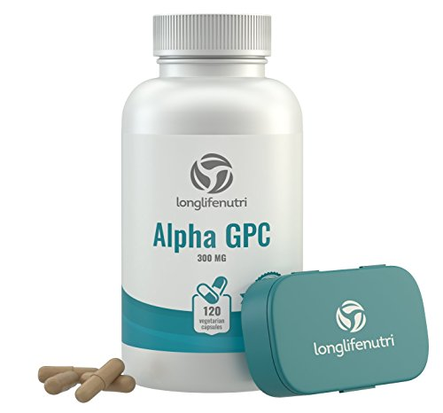 Alpha GPC Choline Supplement 300mg - 120 Vegetarian Capsules | Made in USA | Cognitive Enhancer Nootropic | Supports Memory & Brain Function | Boosts Focus & Mood | 300 mg Pure Powder Pills Complex