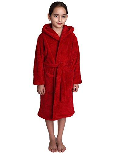 TowelSelections Big Girls' Robe, Kids Plush Hooded Fleece Bathrobe Size 14 Red