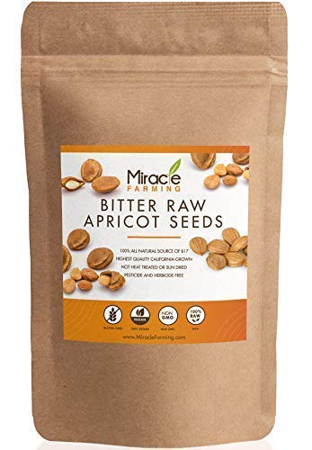 Bitter Apricot Seeds / Kernels, California USA Grown, Pesticide and Herbicide-Free, Non GMO, Vegan, Raw & Large, The Best Natural Source of Vitamin B17, In an Easy Resealable Pouch (1lb)