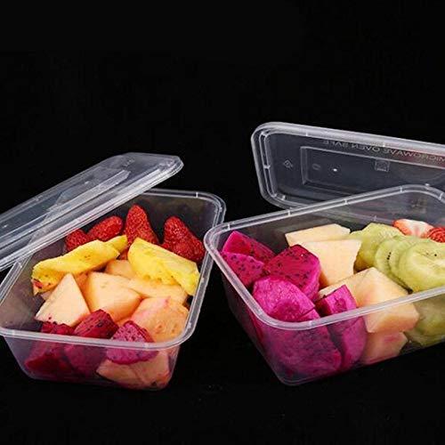PPuujia Caja de alimentos 50 unidades transparente para llevar a cabo frutas, recipientes desechables para ensalada, comida y almacenamiento de alimentos, caja de embalaje para sacar (color: 650 ml)
