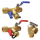 Xiny Tool 3/4-Inch IPS Isolator Tankless Water Heater Service Valve Kit with Pressure Relief Valve, Clean Brass