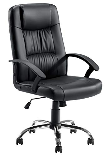 Office Chair Desk Chair Computer Chair with Lumbar Support, Tribesigns PU Leather Executive Ergonomic Chair Rolling Swivel Adjustable Task Chair with Casters, Black