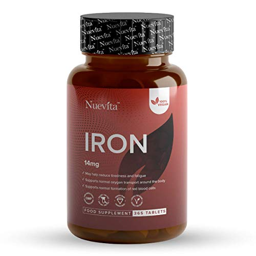 Iron 14mg Tablets | 365 Tablets (12 Months Supply) | Helps Reduce Tiredness & Fatigue, Supports Normal Oxygen Transportation, Formation of Red Blood Cells & Cognitive Function