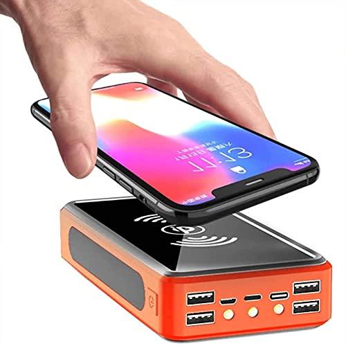 PWQ-01 Cargador Portátil Inalámbrico, QC3.0 22.5W Power Bank 50000mAh Cargador Solar Carga rápida, Power Bank Solar con 6 Salidas, Batería Externa Compatible con iPhone, Samsung, IP-ad, etc,Naranja