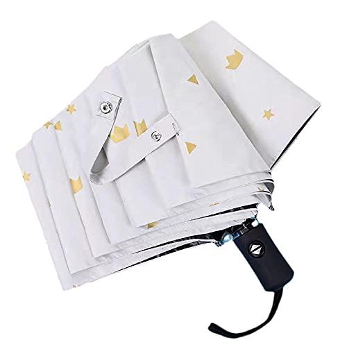 8 Patrón de corona de huesos Paraguas automática Tres barrera plegable Umbrella...
