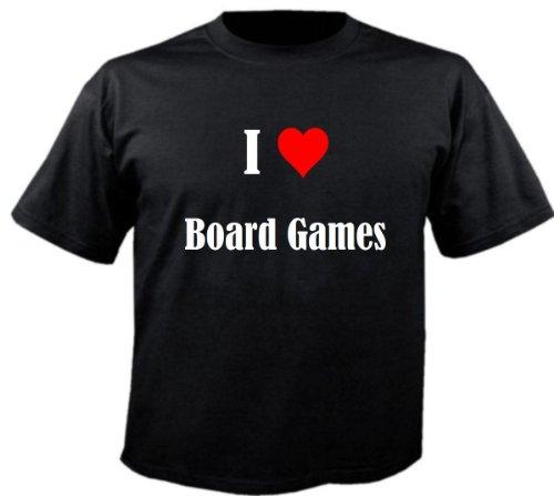Camiseta con texto 'I Love Board Games' para mujer, hombre y niños en los colores negro, blanco y rosa Negro 10 años