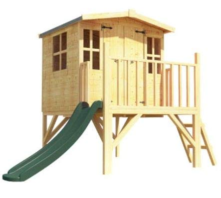 BillyOh Bunny Tower Playhouse | 4x4 T&G Childrens Playhouse | Includes Floor, Roof and Felt (With Slide)