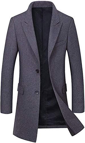 andrea scott Men's Basic Decent Wear Button Front Single Breasted Mid-Long Wool Coat