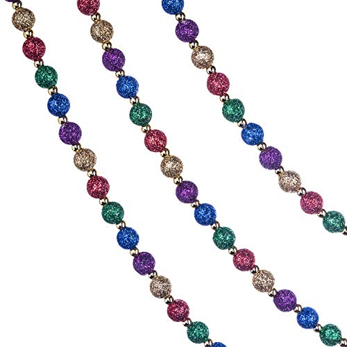 Klikel Red Green and Gold Multi-Color Beaded Garland for Christmas Tree with Glitter - 15feet