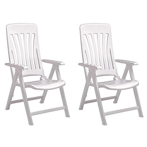 RESOL Blanes Set 2 Sillones de Jardín Reclinables 5 Posiciones con Respaldo Alto Aireado y Reposabrazos   Plegable, Ligero y Cómodo con Multiposición - Color Blanco