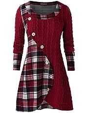 ღLILICATღ Sudadera con Capucha Tumblr Mujer Moda Manga Larga Casual Impresión Cuadros Jersey Mujer Botones Blusa Tops Costuras Irregulares Suéter Largo Ropa Mujer Rebajas Camiseta Abrigo