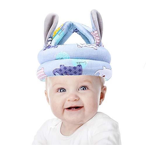 Casco de seguridad para bebés pequeños, ajustable, protector de cabeza de bebé, suave, transpirable, para niños, protección antigolpes, para correr, caminar, gatear (elefante gris-azul)