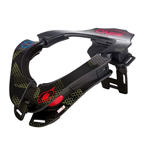 O\'NEAL   Motocross-Protektor   MX MTB Mountainbike Enduro Motorrad   2 Zonen zum Einstellen, 2 Vorderpolster, Verschlussmechanismus   Tron Neckbrace Covert   Erwachsene   Schwarz Grün   One Size